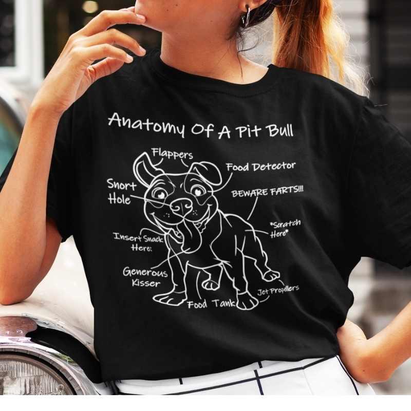 anatomy of a pit bull black tee white design