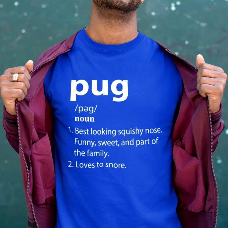 pug definition royal blue tee white design