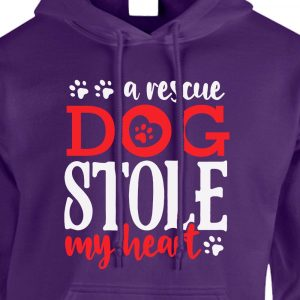 A Rescue Dog Stole My Heart Hoodie Purple